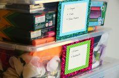 DIY glitter labels #organize craft supplies