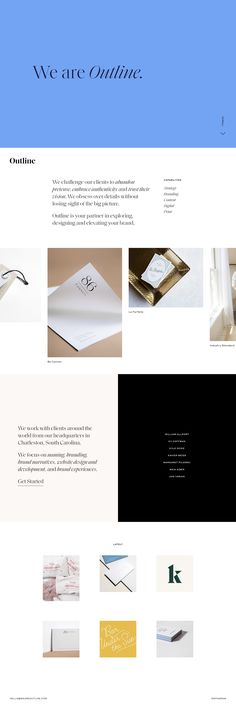 Elegant One Pager for design agency Outline featuring a horizontal scrolling portfolio, slick team member switcher and ends with an Instagram feed, acting as recent news.