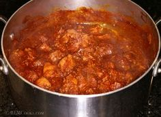 Tender cuts of pork in a red chile sauce. Tremendous flavors. Give this dish a try.