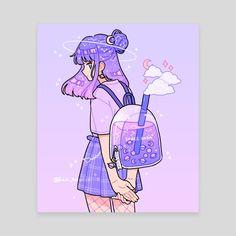 anime purple cute girl art by by fresh bobatae/Emily Kim December 03 2019 at fashion-inspo Doodles Kawaii, Cute Kawaii Drawings, Arte Do Kawaii, Kawaii Art, Anime Kawaii, Cute Art Styles, Cartoon Art Styles, Aesthetic Art, Aesthetic Anime