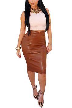 Coffee Leather-look Velvet Pencil Midi Skirt