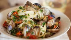 Tagliatelle alle vongole. From Michela Chiappa on Simply Italian, Channel 4. I love this programme!