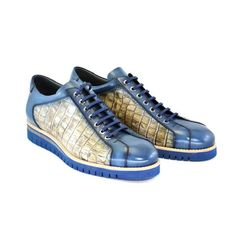 Corrente Men's Shoes Blue & Beige Texture Print / Calf-Skin Leather Sneakers 4005 (CRT1070) Material:... Puma Platform, Platform Sneakers, Leather Sneakers, Blue Shoes, Men's Shoes, Italian Sneakers, Natural Rubber, World Of Fashion, Calves