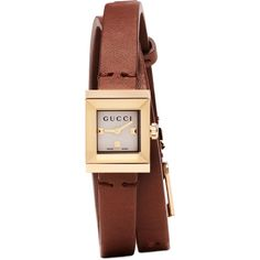 Gucci Gold and Brown G-Frame Watch (6,070 EGP) ❤ liked on Polyvore featuring jewelry, watches, gold, gold jewelry, gucci, gold watches, gold wristwatches and bee jewelry