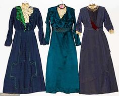 3 BLUE AFTERNOON DRESSES, 1913-1918 via Augusta Auctions. I love the slightly gothic cross trim on the skirt (left). I've seen similar shapes on 1907-1910s sewing patterns and plates.