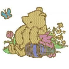 """3.94(W) × 3.07"""" (H)~All Embroidered Winnie the Pooh Iron on Patches    are                    made        of high quality items, high quality  felt              (Eco-friendly  polyester   made   from                recycled          post-customer  plastic       bottles) ~Iron on applique can be applied to Tops, towels, bags, cd  cases, pants, jackets and more... ~1000's                                   of designs available,  Everything from       Angry       Birds    to        Ziggy,    If…"""