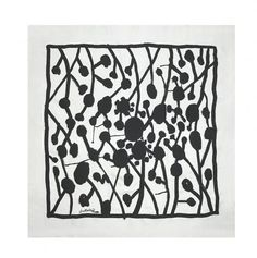 Ascher Artist Squares - Graham Sutherland  Black Trellis  1946 90cm x 90cm Rayon Crepe