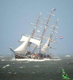"Dutch Clipper ""Stad Amsterdam"" by strong breeze Old Sailing Ships, Make A Boat, Classic Yachts, Water Pictures, Stormy Sea, Naval History, Yacht Boat, Am Meer, Small Boats"