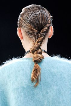 A twisted hairstyle at Zimmermann Fall 2014