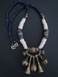 """ African Venetian Trade Beads, Ostrich Shell and Brass Bells Necklace """