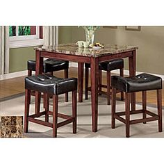 @Overstock.com - Constantini Faux Marble Top 5-piece Pub Set - Take your home bar to the next level of authenticity with the Constantini Faux Marble Top 5-piece Pub Set. The sharp modern design allows this table and chair set to transition from casual to formal dining.  http://www.overstock.com/Home-Garden/Constantini-Faux-Marble-Top-5-piece-Pub-Set/4703010/product.html?CID=214117 $609.99