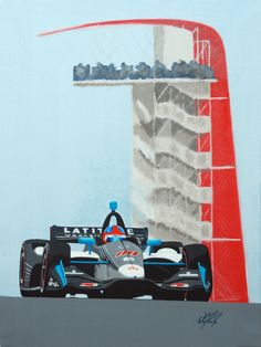 """""""Colton's @ COTA"""" 24""""x18"""" Acrylic on Canvas Son of Indy© original, featuring Colton Herta in the 2019 Indycar race he won at Circuit of the Americas, setting a record as the youngest driver to win in Indycar."""