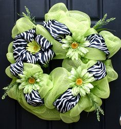 Lime Green and Zebra Mesh Wreath by FestiveTouch on Etsy, $99.00