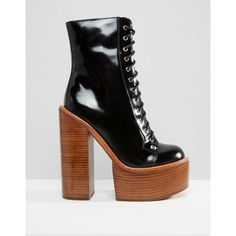 Jeffrey Campbell Paulita Mega Platform Lace Up Ankle Boots (2.130 ARS) ❤ liked on Polyvore featuring shoes, boots, ankle booties, short boots, lace up ankle boots, lace up ankle booties, laced up boots and bootie boots