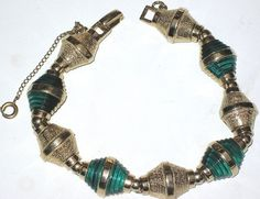 Vintage Ledo Necklace Images | Ledo Ribbed Green Molded Glass Golden Vintage Bracelet | eBay Sold for ...