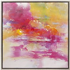 "Framed in gold, the Atkinson oil on canvas is a vivid abstract adding warm, vibrant color to any wall in pink shades blending into a yellow glow. - Dimensions: 31.5""H x 31.5""W - Material: Wood, Canvas"