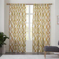 Cotton Canvas Scribble Lattice Curtain - Horseradish #westelm