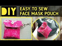 Pouch Pattern, Pocket Pattern, Easy Face Masks, Diy Face Mask, Costura Diy, Simple Face, Small Sewing Projects, Diy Mask, Couture