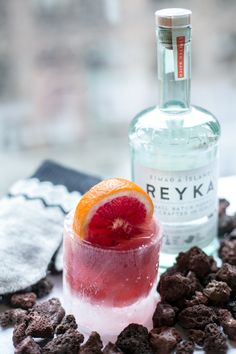 So this is a really COOL cocktail!  Bonefish will have ice glasses filled with a cocktail called the Cold Snap Cosmo!  It is delish!!  Recipe is  1.5 oz of Reyka Vodka, 1 oz of Solerno Blood Orange Liqueur, 0.50 oz of Blood Orange Juice & 0.50 oz of fresh Lime Simple Syrup.  Shake all over ice and if at home serve in a chilled martini glass.  ENJOY!!