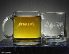 Sample Only Clear-Out Etched Glass Coffee Mug 6 Glass Coffee Mugs, Beer Mugs, Glass Tray, Glass Vase, Glass Etching, Etched Glass, Etched Wine Glasses, Coffee Delivery, Coffee And End Tables