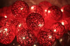 Ravishing Red Yarn Ball String Lights