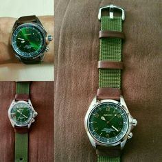 Perfect harmony between green sunburst dial Seiko Alpinist Sarb017 and Hirsch Rebel green nato strap (from esprit-nato.com)