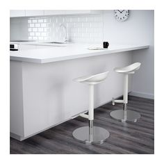 IKEA - JANINGE, Bar stool, You sit comfortably thanks to the scooped seat.Easy to adjust in heights using one hand.With footrest for relaxed sitting posture.A special surface treatment makes the seat extra scratch resistant.
