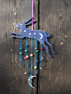 Magical Blue Hare moon stars wooden hanger pagan by bluelunahare on Etsy