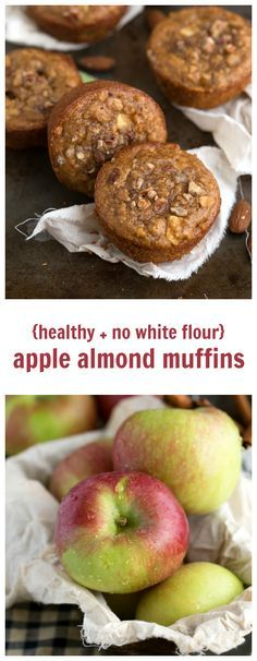 No white flour, no butter, and no oil in these almond butter, apple, and pecan muffins. These muffins are bursting with flavor, healthy, and gluten-free! Substitute coconut sugar for brown to keep these healthy muffins clean eating friendly. Pin now to make later!