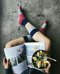 Breakfast time in Doormind socks... Best way to start the day..