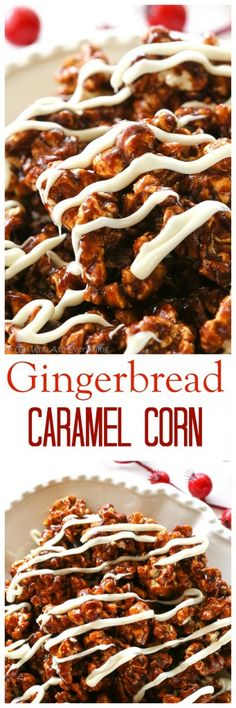 Gingerbread Caramel Popcorn - a crunchy popcorn with festive holiday flavors and drizzled with almond bark. A great neighbor gift for Christmas! the-girl-who-ate-. Fun Easy Recipes, Popular Recipes, Easy Meals, Popcorn Recipes, Dessert Recipes, Flavored Popcorn, Gourmet Popcorn, Popcorn Bar, Snack Recipes