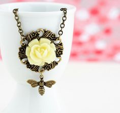 Bee Necklace  Bee Pendant  Vintage Style by JacarandaDesigns