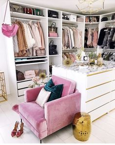 What a lovely dressing room or walk in wardrobe - Home Page Wardrobe Room, Closet Bedroom, Bedroom Decor, Pink Closet, Glam Closet, Ikea Closet, Luxury Closet, Vanity In Closet, Spare Room Closet