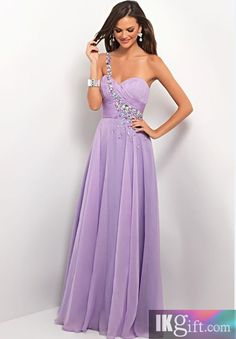 A Line One Shoulder Chiffon and Beading Lilac Dress. Nice and Tan to show off your dress! Organic Sunless Tanner. Get it @ MySkinsFriend.com