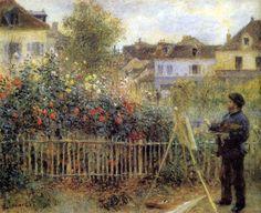 Claude Monet Painting in His Garden at Argenteuil by Pierre-Auguste Renoir