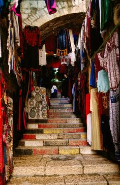 stairs along the shops in the Old City, Jerusalem..been here...its fabulous