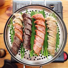 Soondae, pig's intestine stuffed with variety ingredient such as liver, meat, pork blood ,made into sausage . It is a Korean delicacy