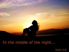 """Ruth 3:8  -  Around midnight, Boaz suddenly woke up and turned over. He was surprised to find a woman lying at his fee! (9) """"Who are you?"""" he demanded.  (NLT)"""