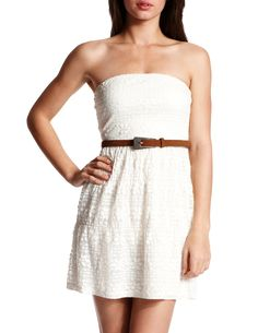 Belted Lace Tube Dress