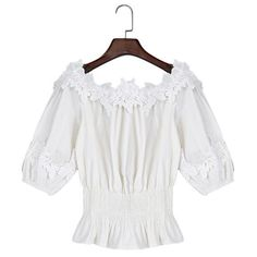 Summer Women Tops Blouse Casual Chic Lace Slash Neck Off Shoulder Ruffles Sleeve Elastic Waist White Shirt Tee Female Blusa