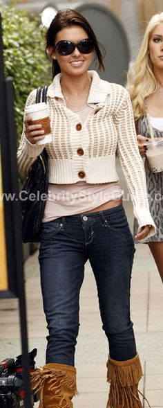 Audrina Patridge Style and Fashion - Lily Mcneal Jordan Sweater - Celebrity Style Guide  Suede tassel boots