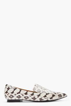 89099c2e0b6 3.1 Phillip Lim White Combo Snakeskin Spade Loafers Gloria Trevi