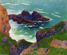 Côte du Large, huile sur toile de Henri Moret (1856-1913, France)