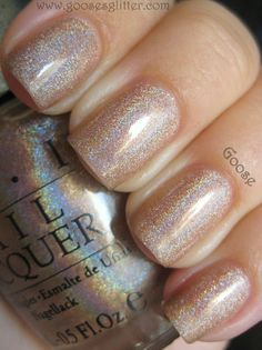 Neutral nails with a touch of glitter