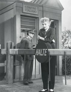 Lucille Ball poses on the I Love Lucy set (The Bicycle Trip)