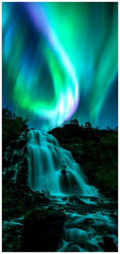 Teal Nightfall - Aurora Borealis over a Waterfall in Norway Beautiful Sky, Beautiful Landscapes, Beautiful Places, Landscape Photography, Nature Photography, Scenic Photography, Night Photography, Landscape Photos, Northen Lights