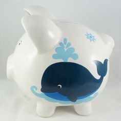 #papermachecrafts #paper #mache #crafts #piggy #bank Office Paint Colors, Personalized Piggy Bank, Baby Whale, Paper Mache Crafts, Painting For Kids, Nautical Theme, Special Gifts, Hand Painted, Crafty