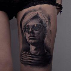 Andy Warhol portrait tattoo by Den Kor