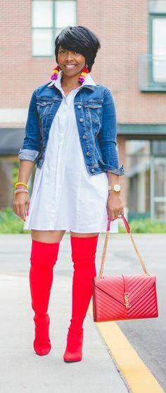 Fall Outfit Idea, Red OTK Boots, Sweenee Style, Red YSL handbag, YSL, Indianapolis Fashion Blogger, White Shirt Dress, Black Fashion Blogger