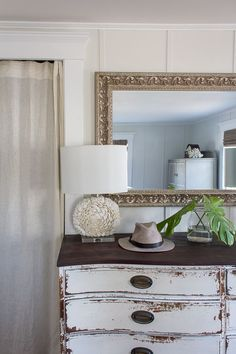 Chippy Dresser Shell Lamp and Pretty Monstera Leaves Coastal Style Even in Winter I Finding Silver Pennies